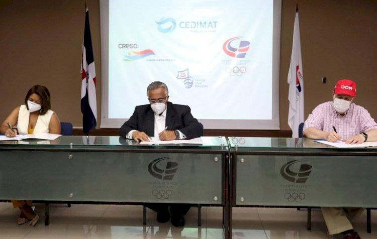 Ceditmat, Creso y Comité Olímpico firman convenio para realizar pruebas de COVID-19 a atletas