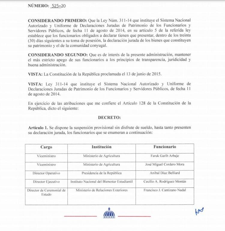 Abinader suspende provisionalmente a ocho funcionarios que no han presentado declaración de bienes