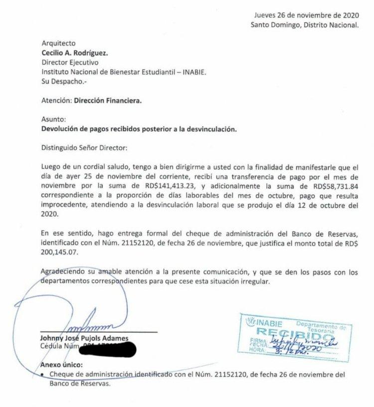 Exfuncionario de INABIE devuelve salario y reitera no ha sido desvinculado de la institución